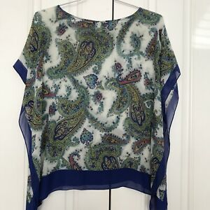 Talbots-S-M-Blue-Green-Print-Top-100-Silk-Sheer-Loose-Poncho-Scarf-Cover-up-EUC
