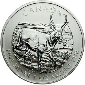 2013-Canada-1-Ounce-Silver-Pronghorn-Antelope-5-Brilliant-Uncirculated-SKU26785