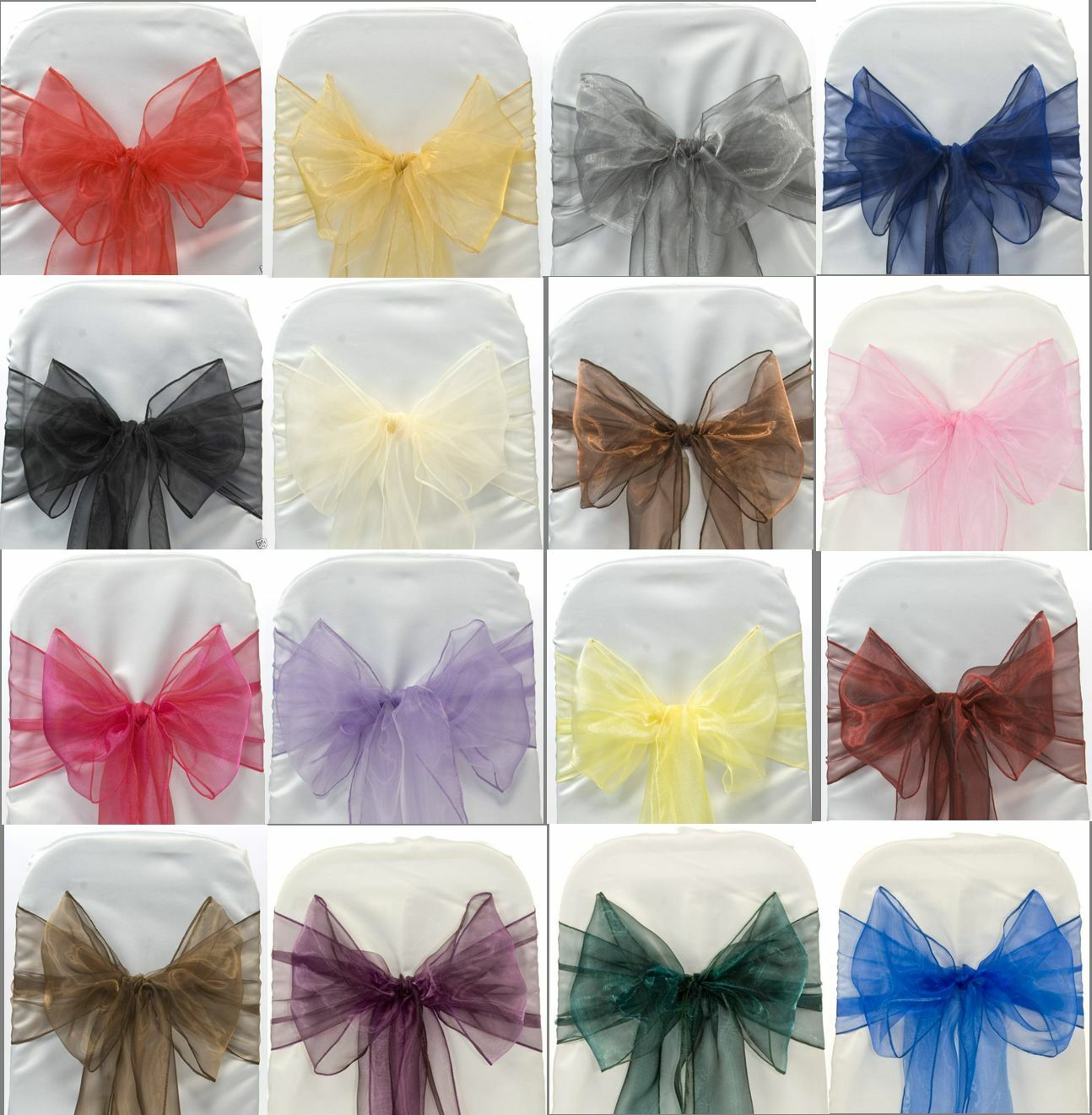 ORGANZA SASHES CHAIR COVER BOW SASH WIDER SASHES FOR A FULLER BOW MORE COLOURS