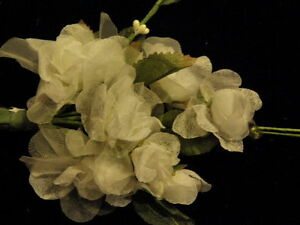 Millinery Flower Cluster Chiffon Organdy White for Hat Wedding + Hair K71