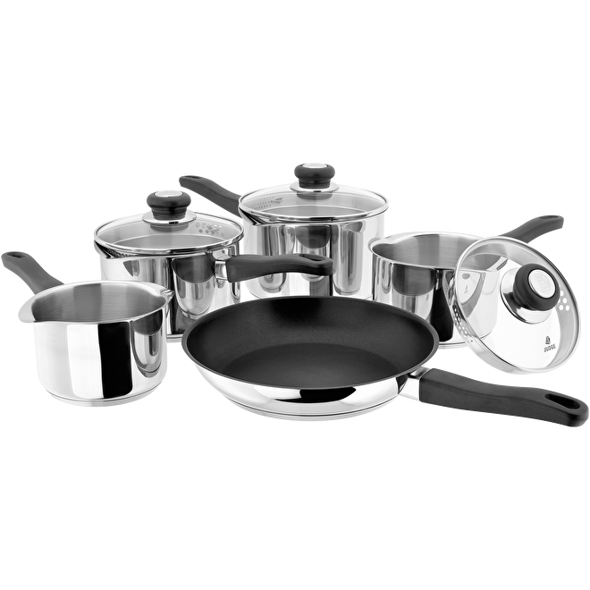 Judge Vista 5-Piece Draining Saucepan Set Stainless Steel - 18 10 Induction
