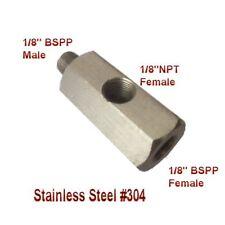 """Adapter / Oil Pressure Gauge Meter 1/8"""" NPT female & BSPP BSP Male & F. Tee L-4b"""