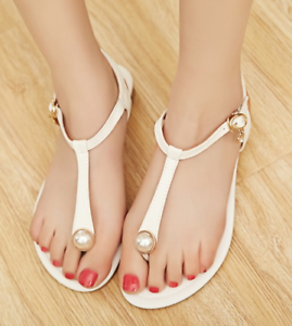 Details about Womens Ankle T strap Pearl Casual Beach Summer Lady Party Elegant Flat Sandals