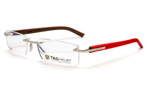 TAG HEUER TRENDS RIMLESS OPTICAL EYEGLASSES FRAME SILVER RED BROWN TH 8109 011