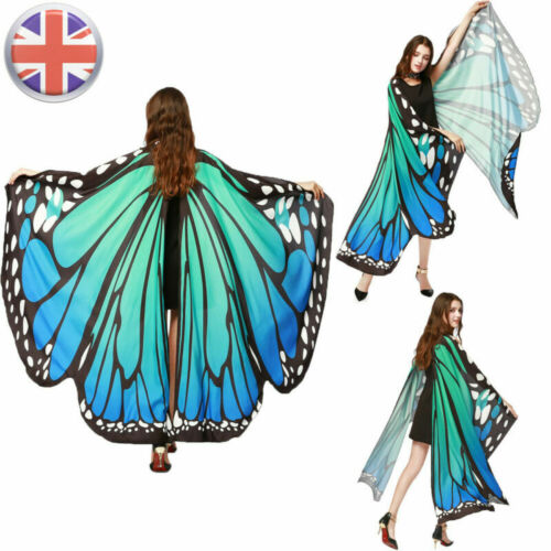 Lady Butterfly Wings Cape Shawl Fairy Pixie Cloak Costume Fancy Dress Party Blue