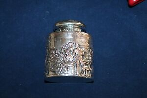 Antique-Dutch-Tea-Caddy-Hallmarked-Repousse-Silver