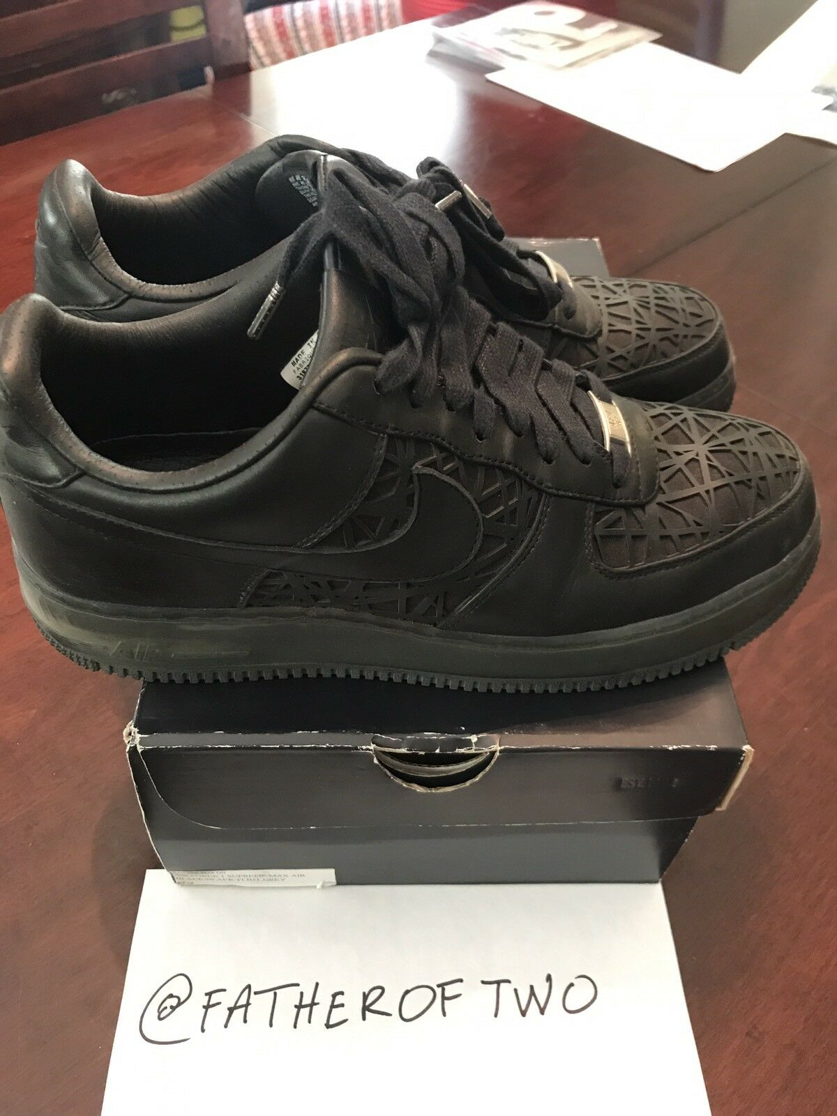 Used Authentic Nike Air Force 1 Supreme Max Black Widow 318772 002 Sample Size 9