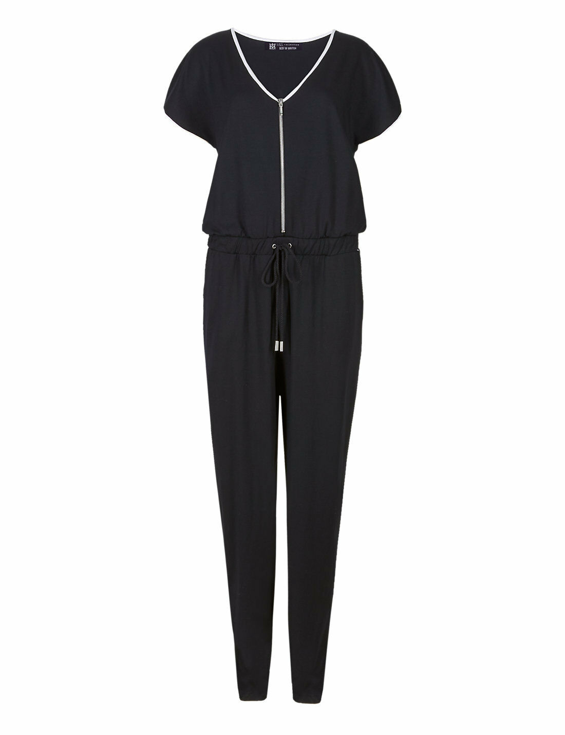 New M&S Best Of British Monochrome Zipped Jumpsuit Sz