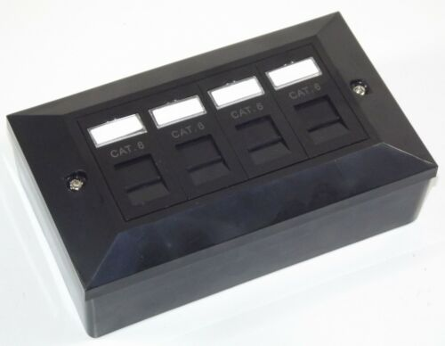 4 vie presa di rete 10x Nero smussato Cat6 RJ45 QUAD Faccia Piastra /& Indietro Box