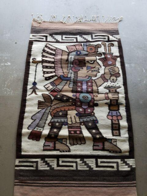New Original Hand Woven Woolen Oaxaca Mexican Rug 5 Ft X 3 Ft 65 X