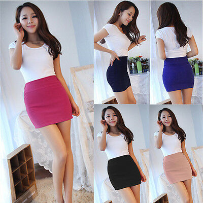Fashion Womens Sexy Mini Skirt Slim Seamless Stretch Tight Short Fitted Skirt