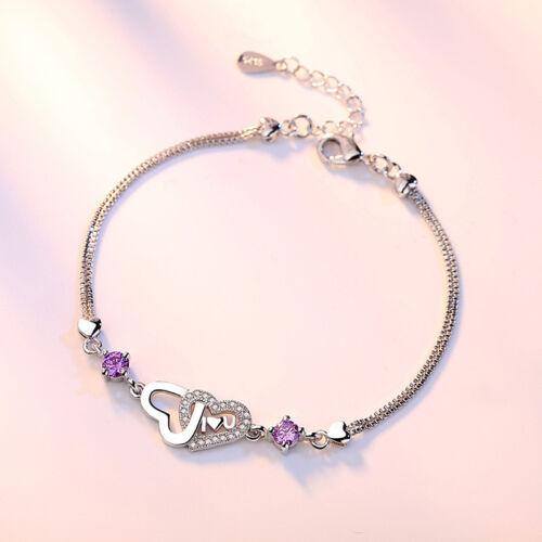 925 Sterling Silver Double Cristal Coeur Bracelet Pour Femmes Valentine/'s Day