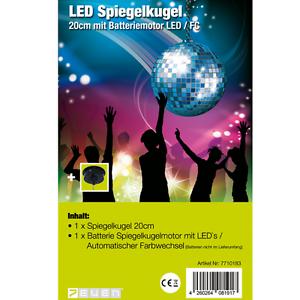7even LED Spiegelkugel 20cm mit Batteriemotor und Farbwechsel / Spiegelkugelset