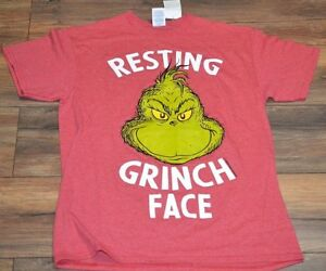 80b22dd4e8af4 Image is loading Resting-Grinch-Face-Tee-Adult-Mens-Grinch-Christmas-