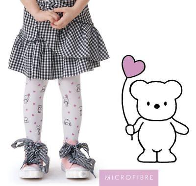 Girls White Teddies Pattern Semi Opaque Tights TEDDY Knittex 4-8 years