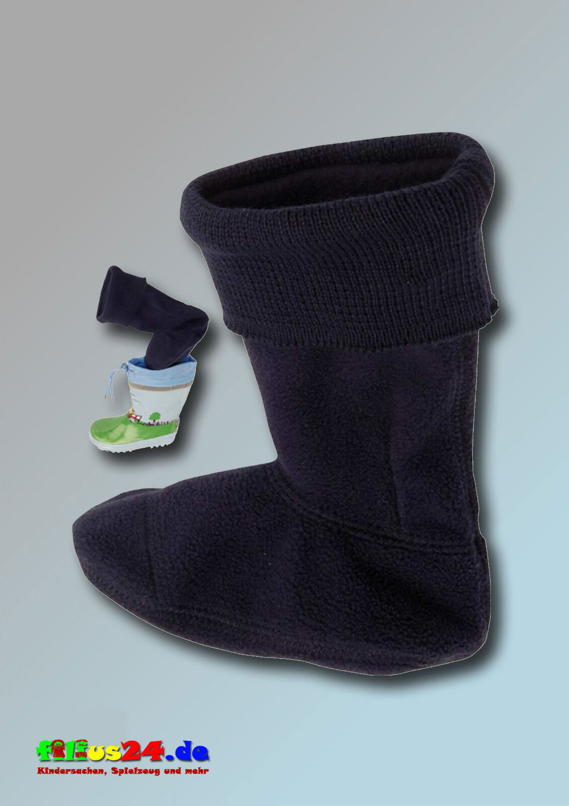 Playshoes Fleece Boot Socks Long IN Marine Size 18 To 35