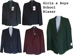 Boys-Girl-School-Uniform-Blazer-Jacket-Bottle-Green-Maroon-Navy-Black-29-034-to-48-034