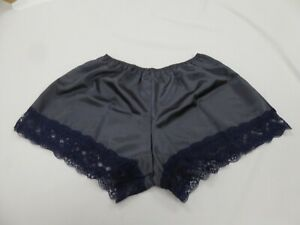 Gris anthracite Polyester Satin French Knickers avec 4.5 cm de large dentelle roses