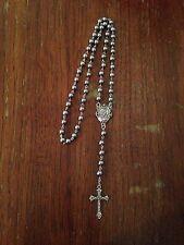 Vintage Catholic Grey Pearl Rosary Beads, Handmade