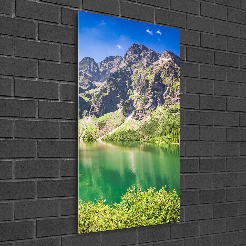 Wandbild Kunst-Druck auf Hart-Glas hochkant 50x100 Meerauge Berge