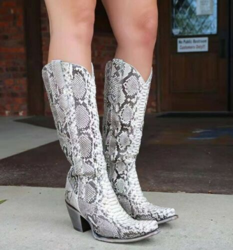 Details about  /Womens Ladies Cowgirl Cowboy Boots Ladies Block Heel Mid Wide Calf Western Shoes