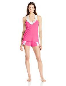 Flora-Nikrooz-Women-039-s-Clara-Lace-Trim-Cami-Tap-2PC-Top-Shorts-Set-Size-XL