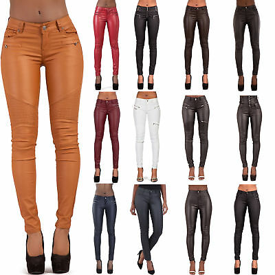 Womens Leather Look Trousers Skinny Stretch Ladies Wet Look Leggings Size 6-16 Professionelles Design