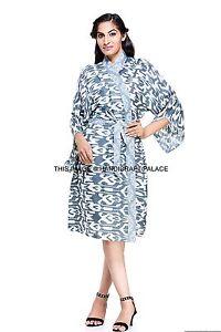 Sexy Ikat Print Indian Cotton Kimono Dressing Gown Bath Robe