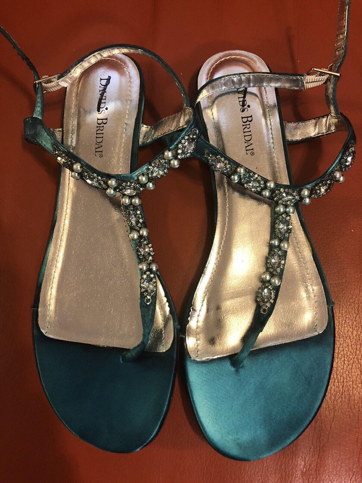 David's Bridal Shoes Pearl Crystal Stella T Strap Jeweled Sandals 8