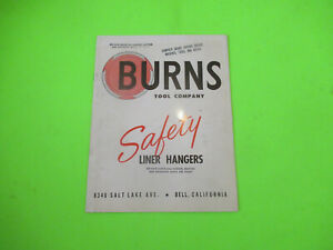 Details about BURNS TOOL COMPANY SAFTY LINER HANGERS BROCHURE BOOKLET OIL  GAS DRILLING