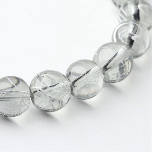 40 perles en verre  gris clair transparent tréfilé blanc 8 m fabrication bijou