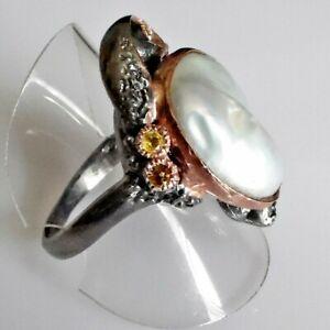 Handarbeit Barockperle Citrin Damen Ring 925 Black Rhodium Rotgold 20 mm 63