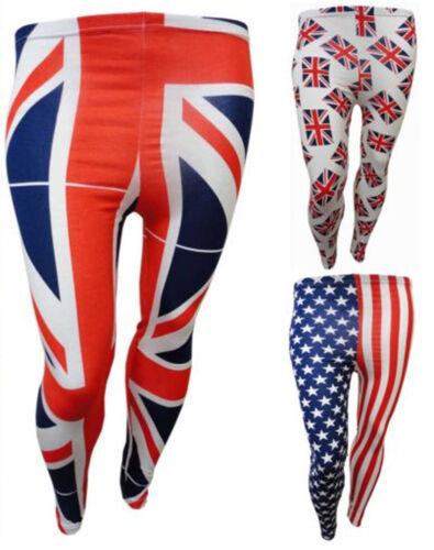 NEW LADIES PLUS SIZE BRITAIN AMERICAN FLAG PRINT STRETCH VISCOSE LEGGINGS 12-26