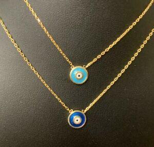 18K-Gold-925-Sterling-Silver-Evil-Eye-Greek-Mati-Nazar-Necklace-Light-Blue-Dark