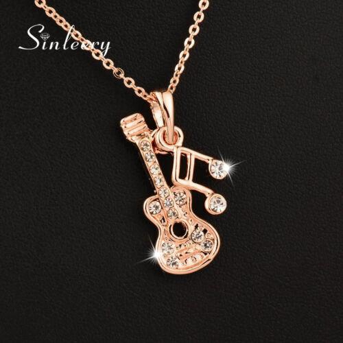 3 Color Musical Note Black Guitar Pendant Necklace Women Statement Necklaces