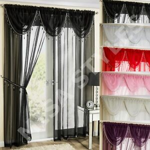 Modern Ready Made Plain Voile Beaded Swags Net Curtain