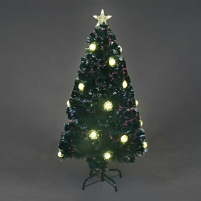 New Boxed 4to7FT Green Led/&FibreOptic  Xmas Tree Lights Pre Lit Decoration UK