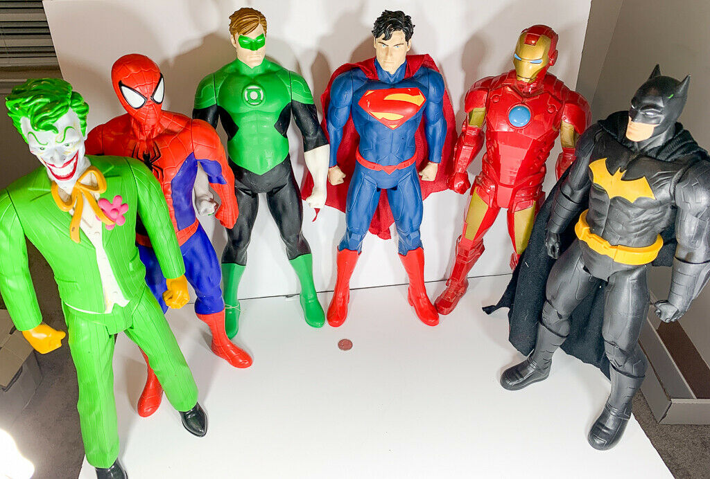 Marvel Titan Hero Series Lot Of 6 20  Spiderman Batman, Ironman, Superman, Joker