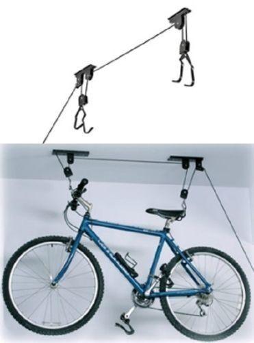 Bike Bicycle Lift Ceiling Mounted Hoist Storage Garage Hanger Pulley Rack