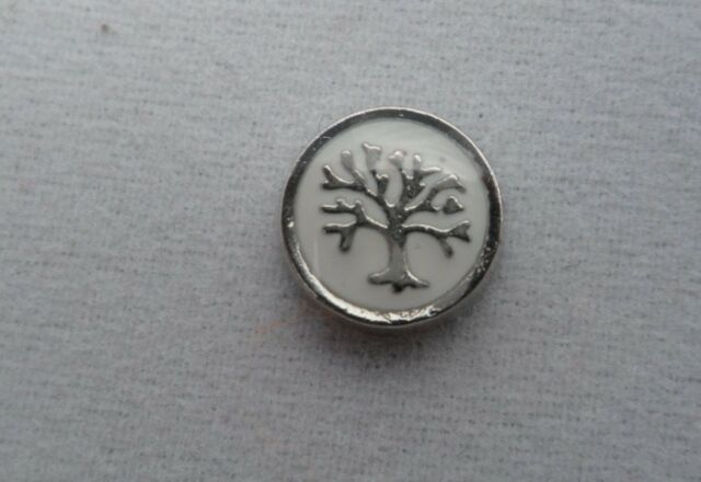 White Circle Family Tree Floating Charm for Glass Living Memory Lockets
