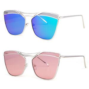 ffa7b3a538b Image is loading Large-Oversized-Cat-Eye-Women-Sunglasses-Flat-Mirrored-