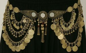MIRROR-GOLD-TONE-COIN-BELT-CHAIN-LINK-TRIBAL-BELLY-DANCE-MEDALLION-ANTIQUE