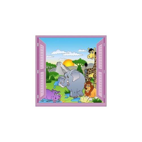 Sticker child window trompe l/'oeil animals safari 906