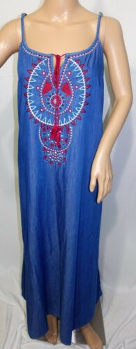 Speed Control Women Plus Size 1x 2x 3x Denim Blue Jeans Style Maxi Long Dress