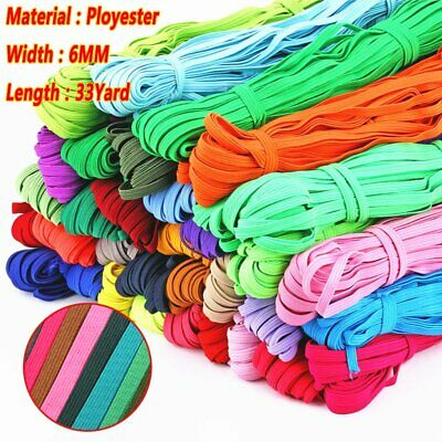 60Yards 6mm Flat Elastic Band Briaded Knit String Cord Rope for Sewing Crafts