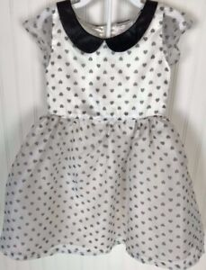Children-039-s-Place-Holiday-Party-Girls-White-amp-Black-Hearts-Dress-Size-4T