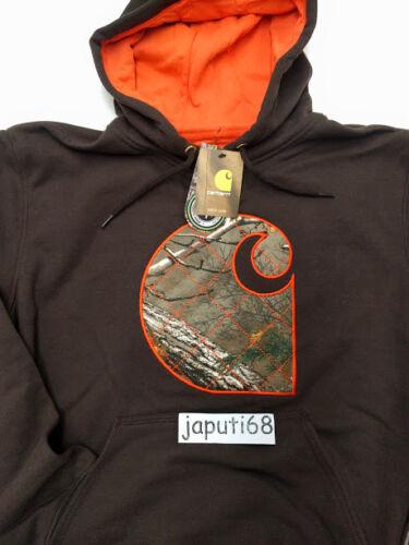 RM1-2275 Dk Brown Carhartt Rain Defender Avondale Mdwght Applique C Sweatshirt