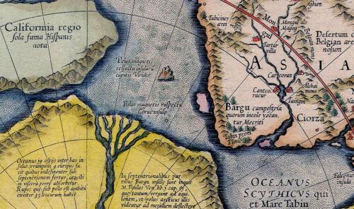 1595 Flat Earth Map North Pole Septentrionalium Terrarum Art Poster Globe Mode