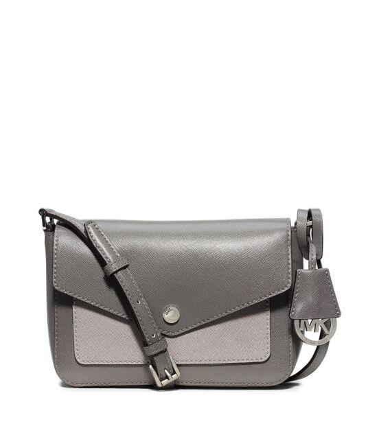 7dbf5de68141 Michael Kors Greenwich Colorblock Leather Crossbody (Steel Grey/Pearl Grey)