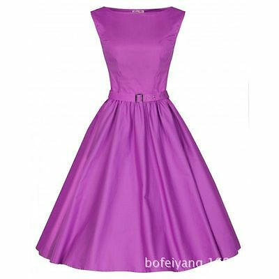 Vintage Swing Audrey Hepburn Cotton Dress Summer Rockabilly Pin up Party Evening
